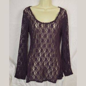 Express Purple Long Sleeve Lace Blouse Overshirt